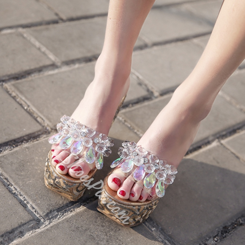 Rhinestone Jelly Wedge Heel Sandals