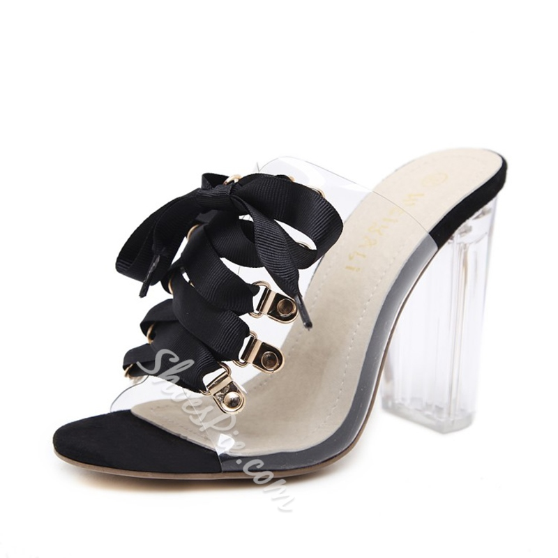Jelly Lace-Up High Heel Mules