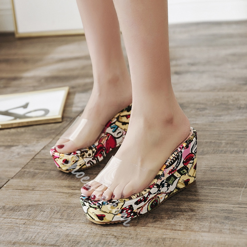 Sexy Jelly Print Wedge Heel Mules