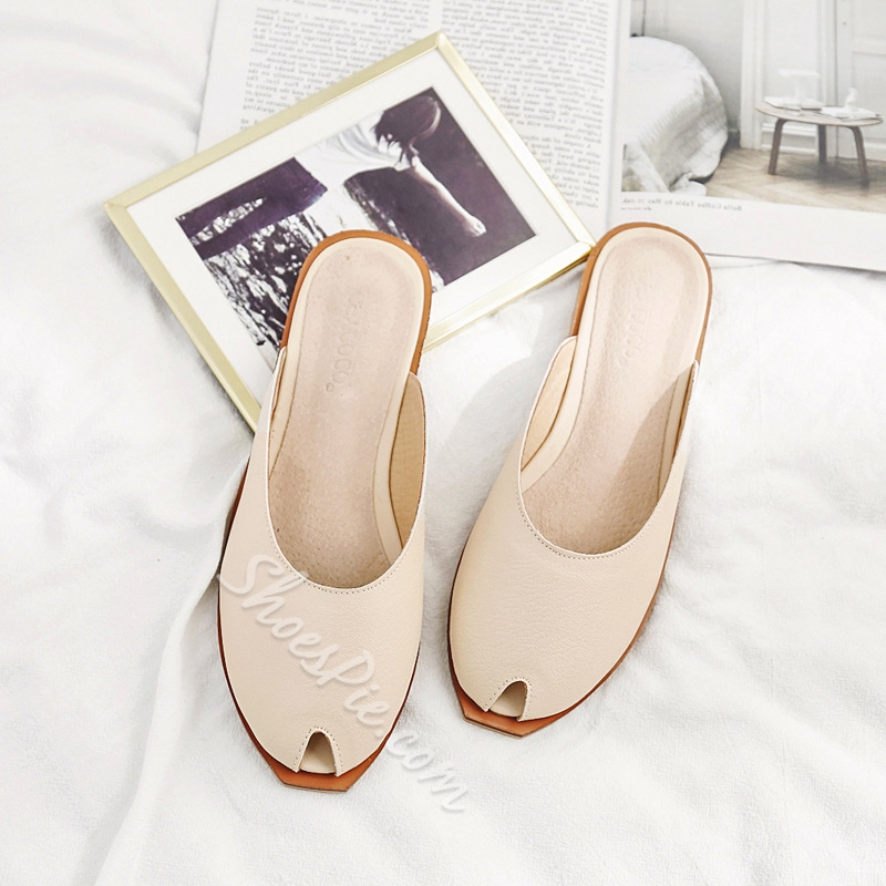 Peep Toe Plain Women's Mules