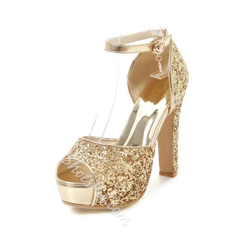 Sequin Platform Peep Toe Dress Sandals