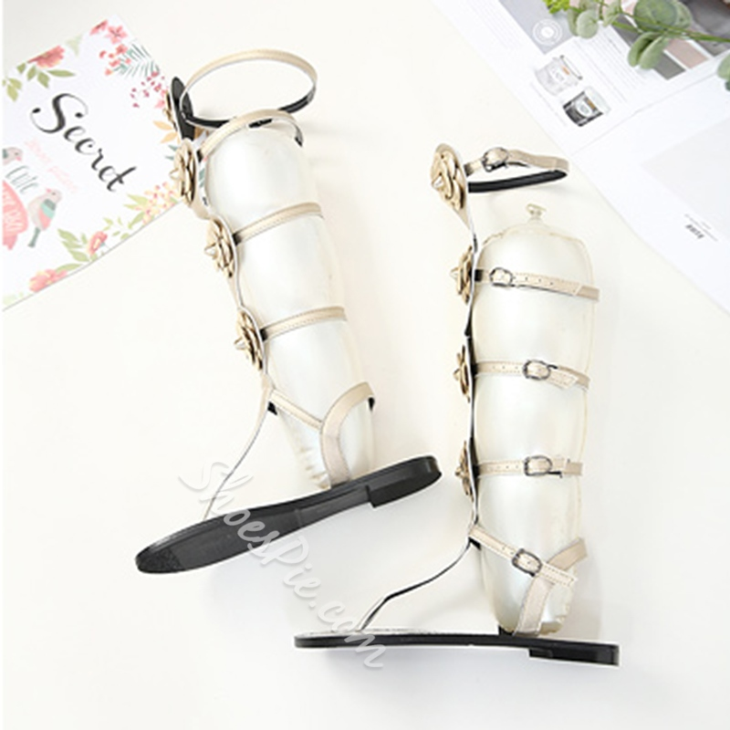 Beads Ankle Strap Buckle Flat Sandals