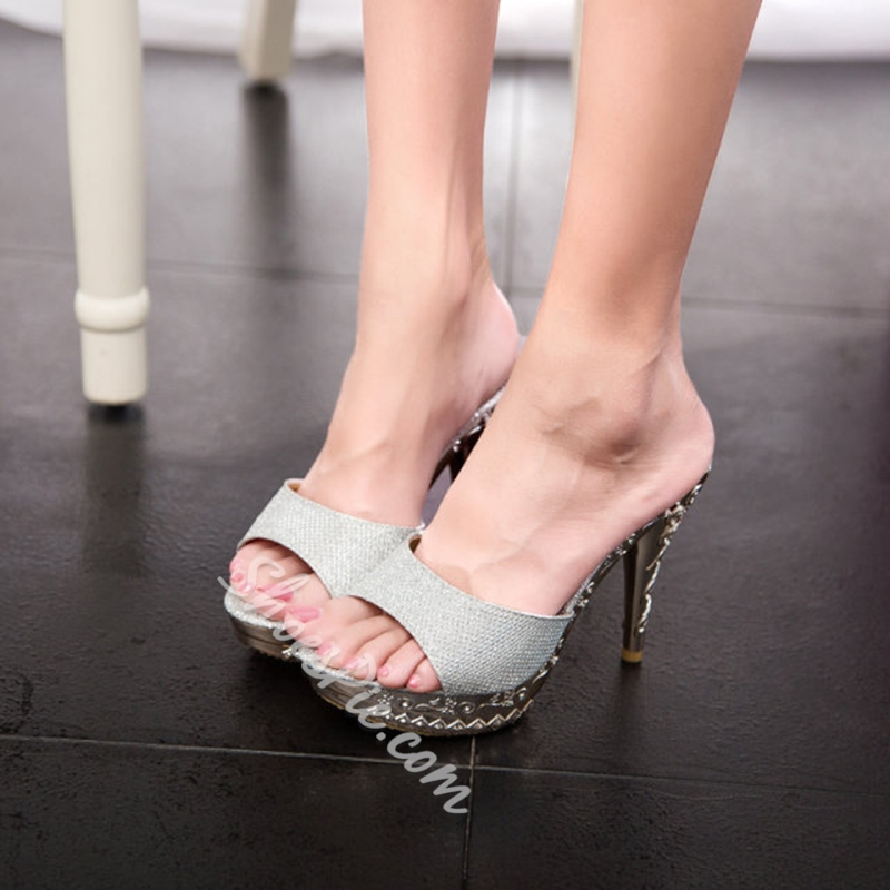 Flip Flop Slip-On Stiletto Heel Dress Sandals