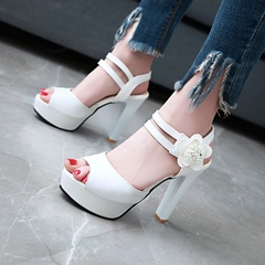 Solid Color Floral Platform Sandals