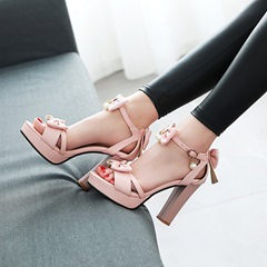 Bow Bead Line-Style Buckle Open Toe High Heels