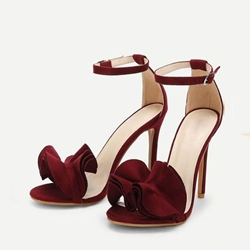 Plain Open Toe Line-Style Buckle Heel Sandals