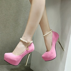 Beads Plain Line Style Buckle Stiletto Heels