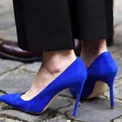 Blue Stiletto Heel Pointed Toe Pumps
