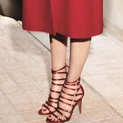 Red Open Toe Heel Covering Heel Sandals