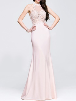 Mermaid Prom Floor-Length Sleeveless Pink Dresses