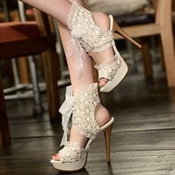 Lace Platform Stiletto Heel Sandals