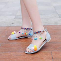 Pompon Fringe Heel Covering Flat Sandals