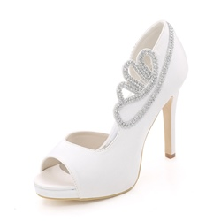 Solid Color Rhinestone Wedding Shoes