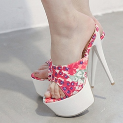 Floral Slip-On Stiletto Heel Mules