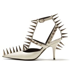 Rivet White T-Shaped Buckle Pointed Toe Stiletto Heels