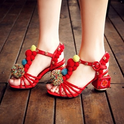 T-Shaped Buckle Pompon Dress Sandals