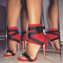 Red Buckle Zipper Stiletto Heel Sandals