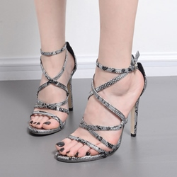 Serpentine Open Toe Stiletto Heel Sandals