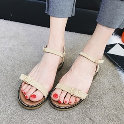 Plain Buckle Open Toe Flat Sandals