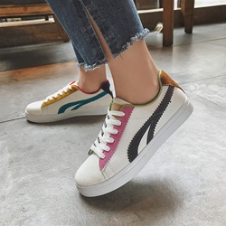 Lace Up Color Block Women's Casual Shoes