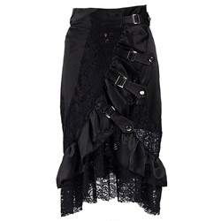 Halloween Costume Pleated Asymmetrical Plain High Waist Women's Skirt