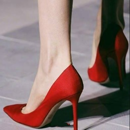 Red Stiletto Heel Pointed Toe Pumps