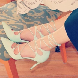 Pointed Toe Stiletto Lace-Up Heel Pumps