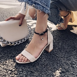 Rhinestone Line-Style Buckle Sandals
