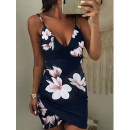 Shoespie Polyester V Neck Print Women's Bodycon Dress