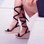 Plain Platform Lace Up Wedge Sandals