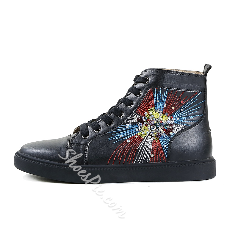 Casual Lace-Up Rhinestone Embroidery Men's Sneakers