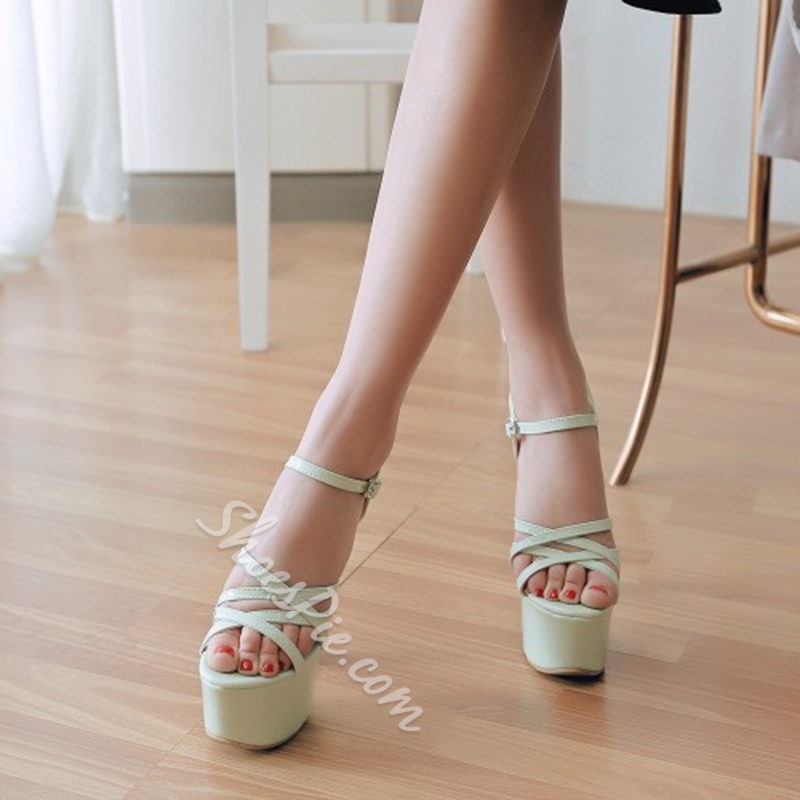 Open Toe Ankle Strap Chunky Heel Sandals