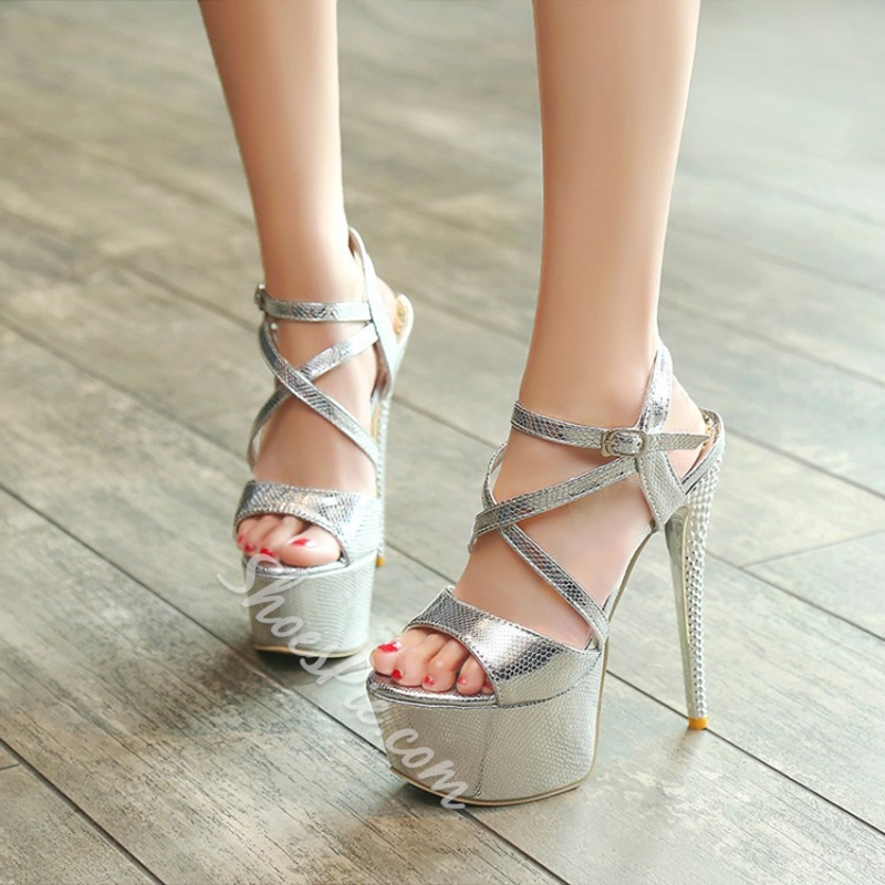 Buckle Strappy High Stiletto Heel Sandals