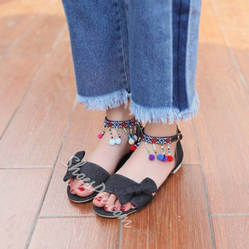 Bow Fringe Heel Covering Flat Sandals