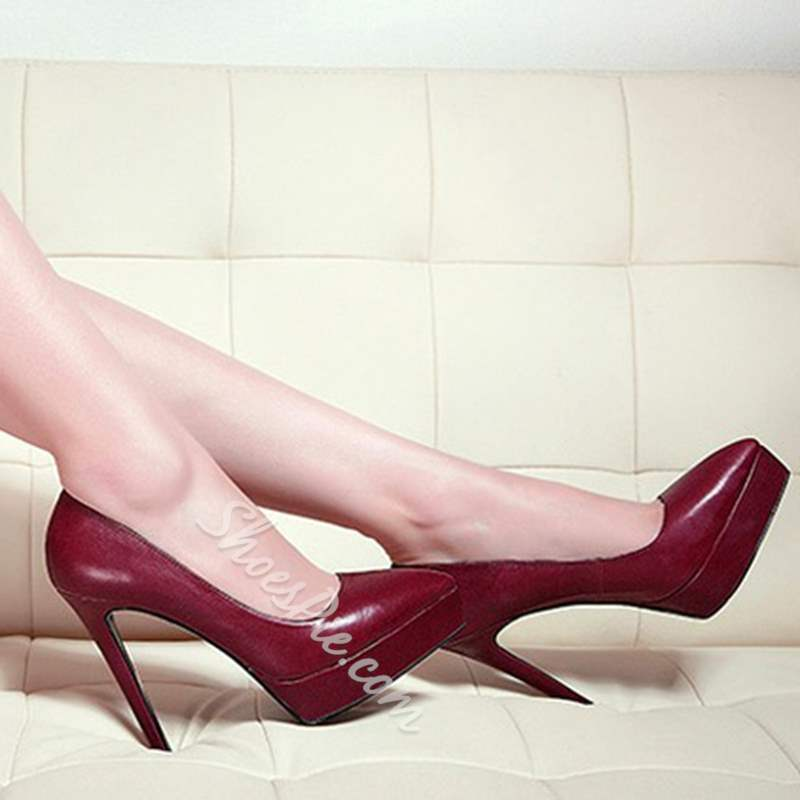 Burgundy Sexy Platform High Stiletto Heels