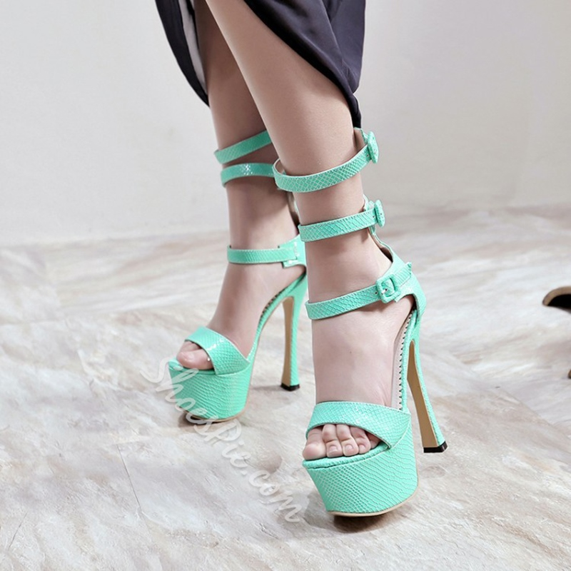 Open Toe Buckle Platform High Heel Sandals