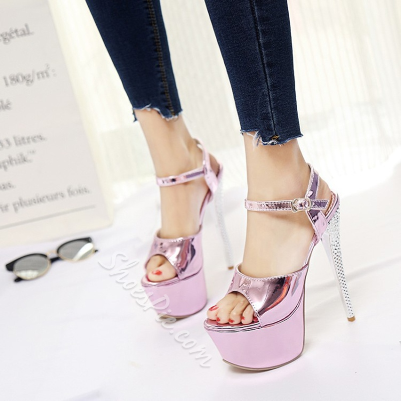 Plain Platform High Stiletto Heel Sandals