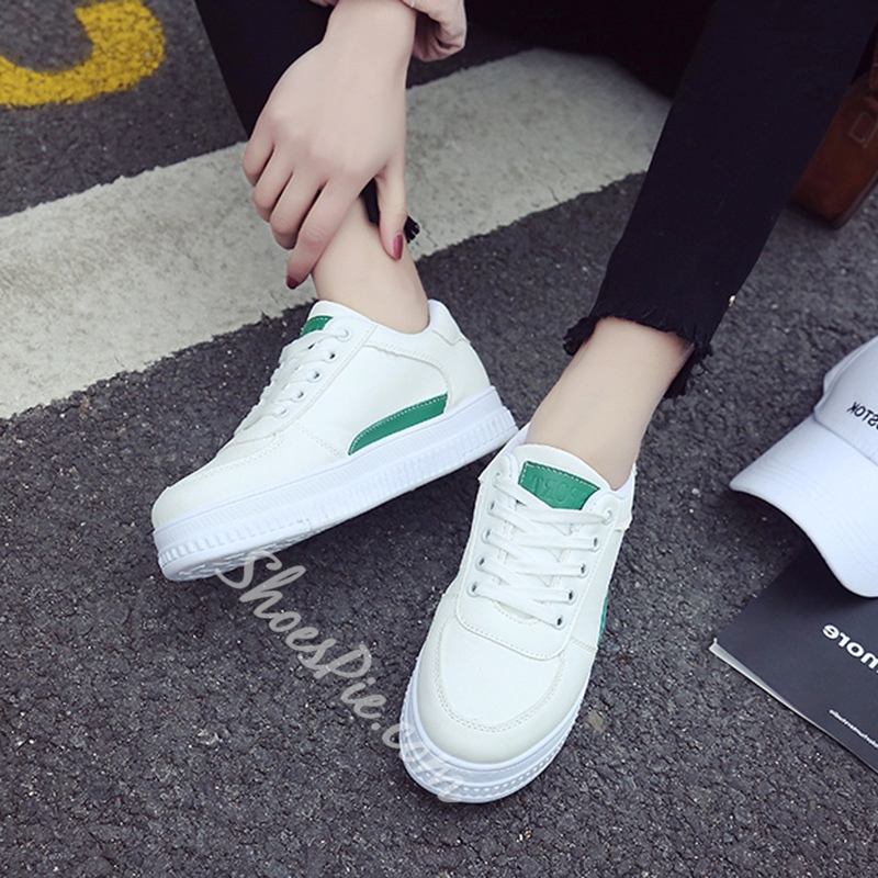 Round Toe Color Block Women's Sneakers
