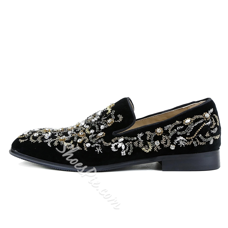 Men's Loafers Rhinestone Slip-On Shoes
