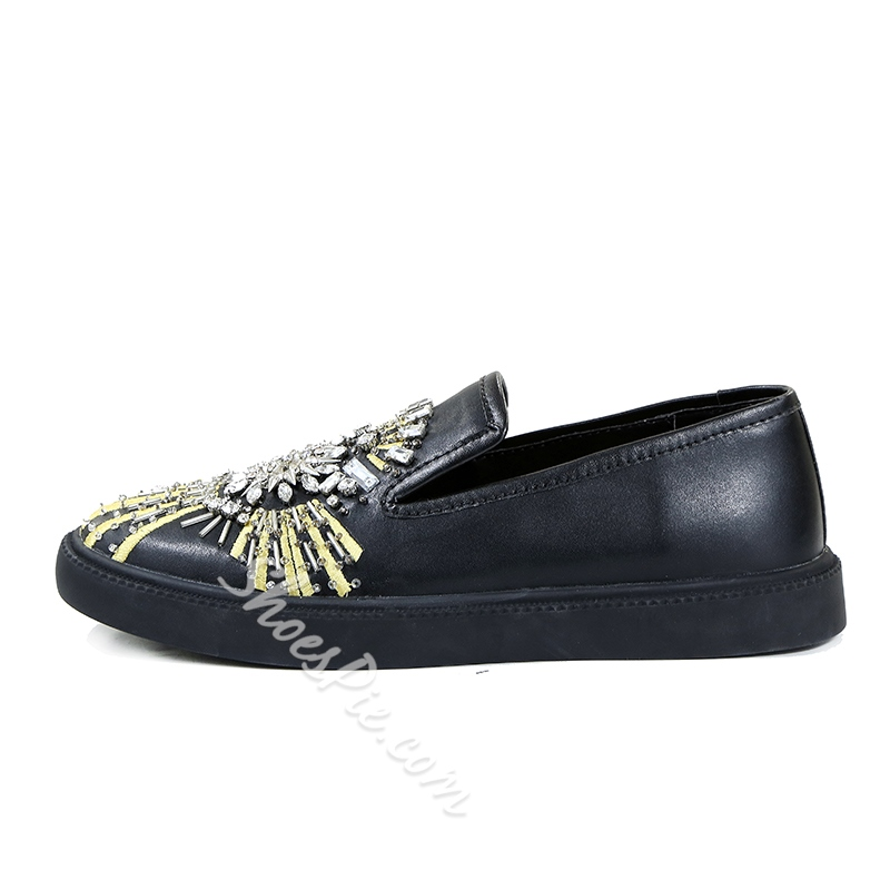Casual Men's Loafers Rhinestone Slip-On