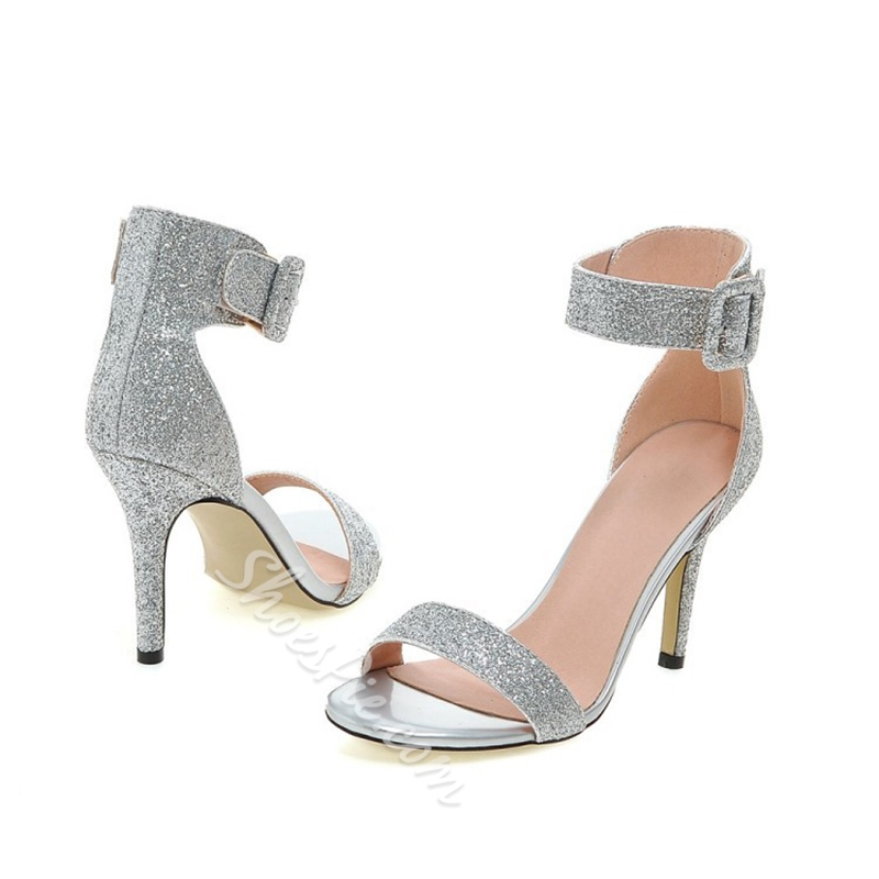 Sequin Banquet Dress Sandals Sweet Stiletto Heels