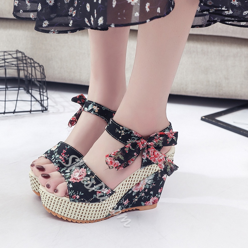 Floral Open Toe Wedge Sandals