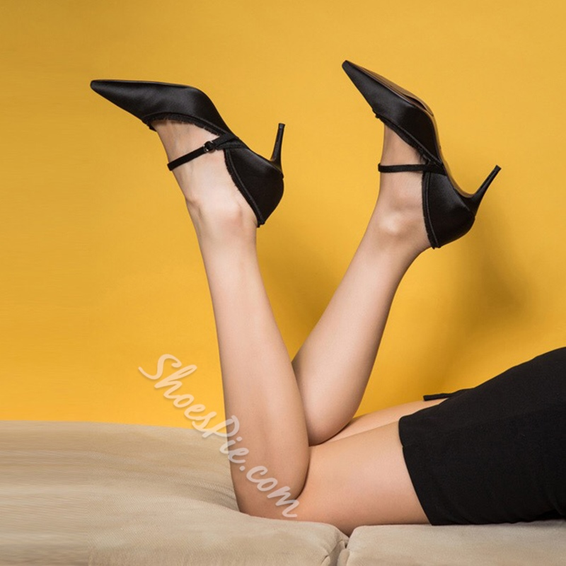 Black Stiletto Heel Pointed Toe Pumps