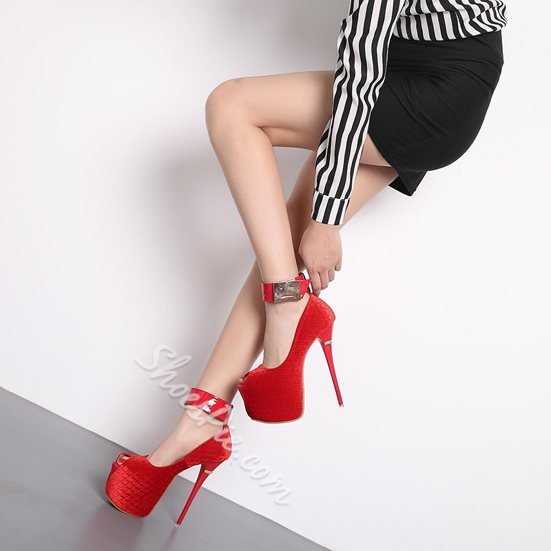 Peep Toe Solid Color High Stiletto Heels