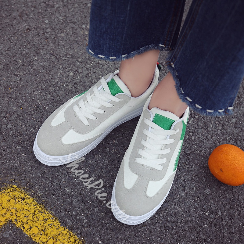 Color Block Lace Up Women's Sneakers