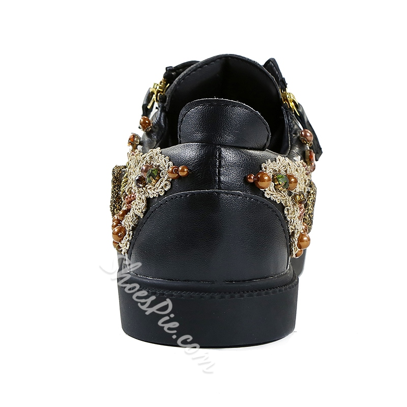 Men's Sneakers Lace-Up Rhinestone Beads