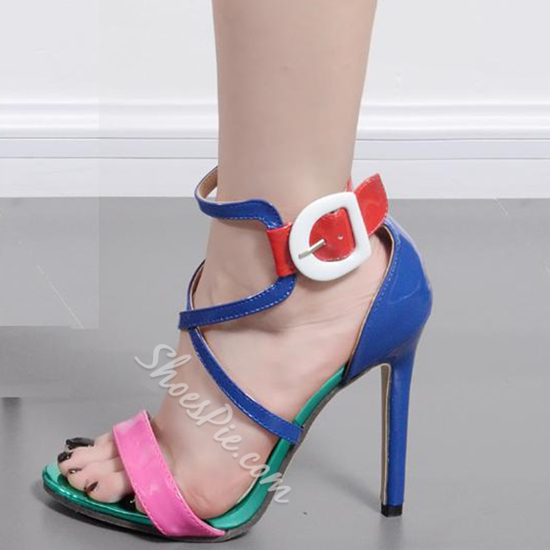 Stiletto Heel Color Block Dress Sandals