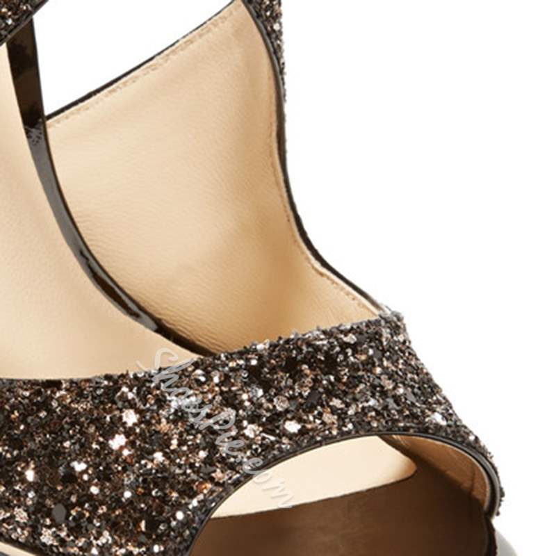 Shoespie Glitter Solid Buckle Strap Peep Toe Sandals