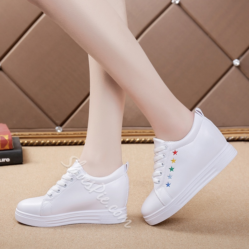 Plain Platform Lace-Up Wedge Sneakers