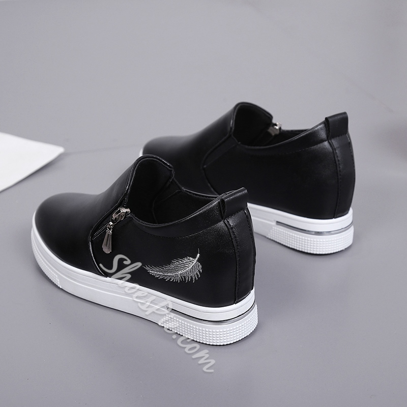 Platform Plain Wedge Sneakers